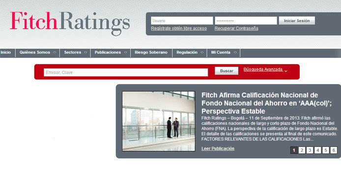 La página web de Fitch Ratings Colombia destaca la calificación otorgada al FNA